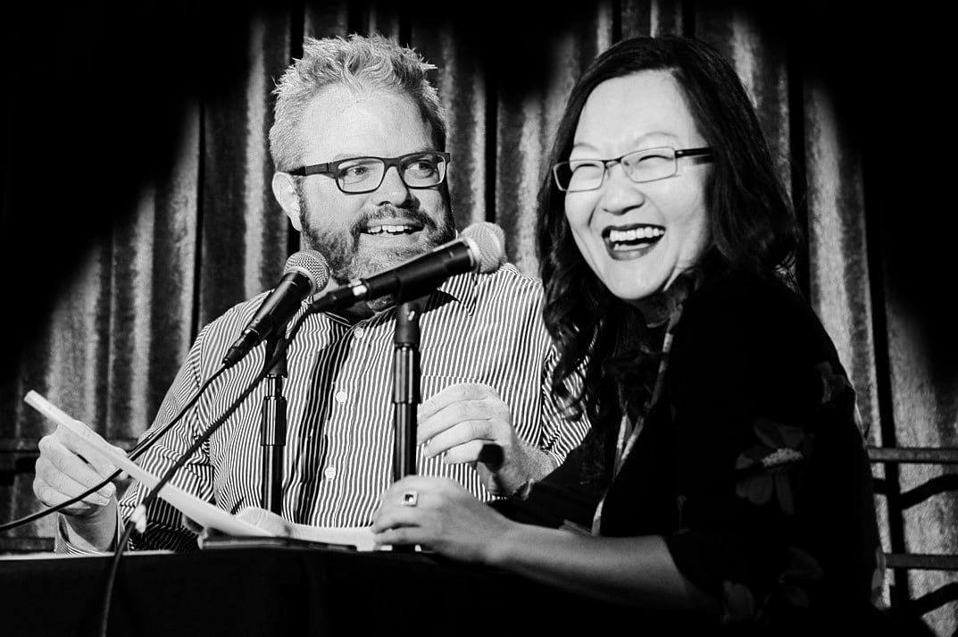 Your hosts, J. Keith van Straaten and Helen Hong, enjoying a nice laugh.